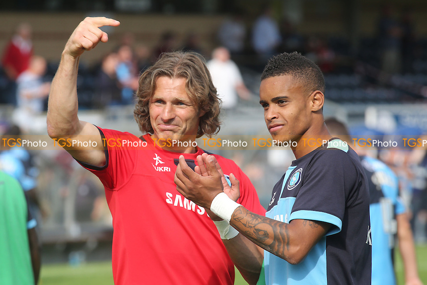 End of the match and Wycombe manager, Gareth Ainsworth, points to Paris Cowan-Hall who scored the only goal of the game - Wycombe Wanderers vs Morecambe - Sky Bet League Two Football at Adams Park, High Wycombe, Buckinghamshire - 03/08/13 - MANDATORY CREDIT: Paul Dennis/TGSPHOTO - Self billing applies where appropriate - 0845 094 6026 - contact@tgsphoto.co.uk - NO UNPAID USE