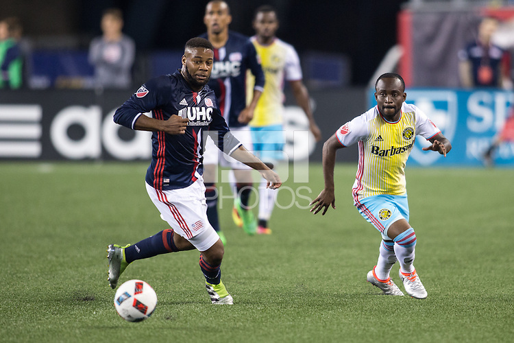 Foxborough, Massachusetts - July 9, 2016:  The New England Revolution (blue and white) beat Columbus Crew (yellow and blue) 3-1 in a Major League Soccer (MLS) match at Gillette Stadium.