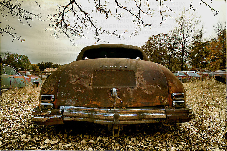 A rusting classic found in a salvage yard in Arkansas