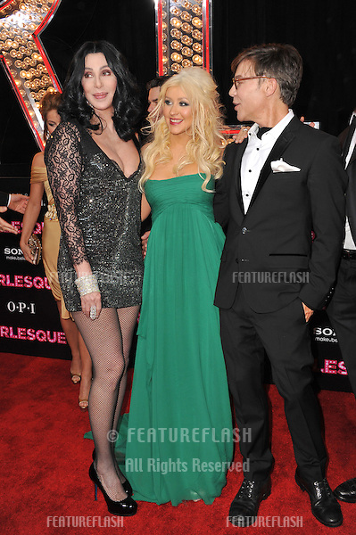 "Cher (left) & Christina Aguilera & director Steven Antin at the Los Angeles premiere of their new movie ""Burlesque"" at Grauman's Chinese Theatre, Hollywood..November 15, 2010  Los Angeles, CA.Picture: Paul Smith / Featureflash"