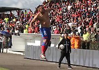 IPIALES-COLOMBIA ,12-10-2019.Ray Vanegas jugador  del Deportivo Pasto celebra después de anotar un gol al Atlético Junior  durante partido por la fecha 17 de la Liga Águila II 2019 jugado en el estadio Municipal de Ipiales./ Ray Vanegas player of Deportivo Pasto   celebates after scoring a goal agaisnt of  Atletico Junior during the match for the date 17 of the Aguila League II 2019 played at Municipal stadium in Ipiales city. Photo: VizzorImage/ Leonardo Castro / Contribuidor