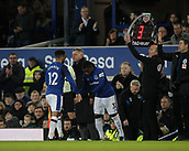 2nd December 2017, Goodison Park, Liverpool, England; EPL Premier League football, Everton versus Huddersfield Town; Everton manager Sam Allardyce takes off Aaron Lennon and brings on Ademola Lookman