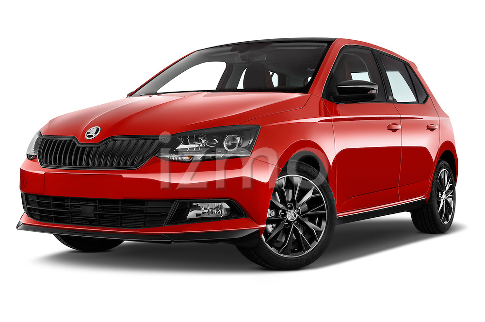 Stock pictures of low aggressive front three quarter view of 2016 Skoda Fabia Monte-Carlo 5 Door Hatchback Low Aggressive