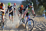 October 17, 2015 - Boulder, Colorado, U.S. - Men's elite cyclists struggle to find a way through a difficult sandy pitch during the U.S. Open of Cyclocross, Valmont Bike Park, Boulder, Colorado.