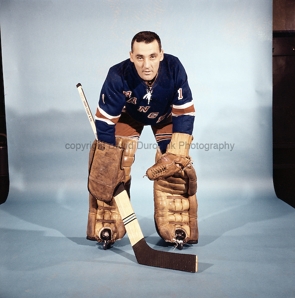PORTRAIT OF JACQUE PLANTE,  of the New York Rangers, believed to be from the 1966-67 season