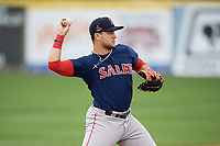 Salem Red Sox third baseman Michael Chavis (11) throws to first base during the first game of a doubleheader against the Potomac Nationals on May 13, 2017 at G. Richard Pfitzner Stadium in Woodbridge, Virginia.  Potomac defeated Salem 6-0.  (Mike Janes/Four Seam Images)