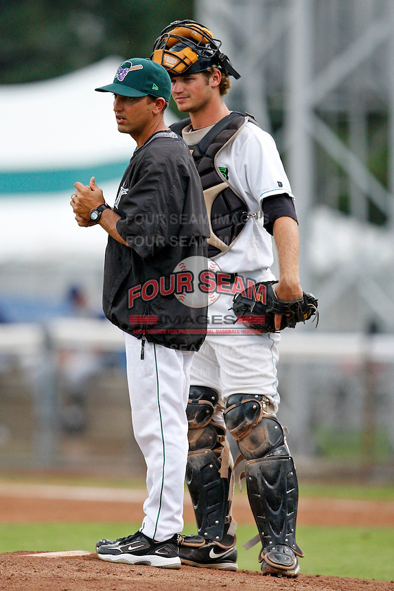 July 30, 2009:  Manager Andy Haines and catcher Robert Taylor of the Jamestown Jammers during a game at Russell Diethrick Park in Jamestown, NY.  The Jammers are the NY-Penn League Short-Season Single-A affiliate of the Florida Marlins.  Photo By Mike Janes/Four Seam Images
