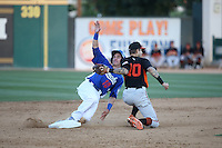 Clay Bellinger (10) of the Rancho Cucamonga Quakes steals second base when he beats the throw to Jeff Kobernus (10) of the San Jose Giants during a game at LoanMart Field on August 30, 2015 in Rancho Cucamonga, California. Rancho Cucamonga defeated San Jose, 8-3. (Larry Goren/Four Seam Images)