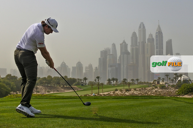 Eddie Pepperell (ENG) on the 8th tee during Round 1 of the Omega Dubai Desert Classic, Emirates Golf Club, Dubai,  United Arab Emirates. 24/01/2019<br /> Picture: Golffile | Thos Caffrey<br /> <br /> <br /> All photo usage must carry mandatory copyright credit (&copy; Golffile | Thos Caffrey)