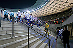 The home players emerging from the dressing rooms before the start of the second half as Hertha Berlin take on Sporting Lisbon in the Olympic Stadium in Berlin in a UEFA Europa League group match. Hertha won the match by 1 goal to nil to press to the knock-out round of the cup. 2009/10 was the the first year in which the Europa League replaced the UEFA Cup in European football competition.