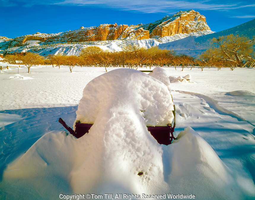 Farm implement in snow, Capitol Reef National Park, Utah, Historic  Mormon settlement of Fruita Waterpocket Fold