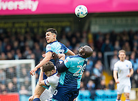 Luke O'Nien of Wycombe Wanderers and Adebayo Akinfenwa of Wycombe Wanderers during the Sky Bet League 2 match between Wycombe Wanderers and Mansfield Town at Adams Park, High Wycombe, England on the 14th April 2017. Photo by Liam McAvoy.