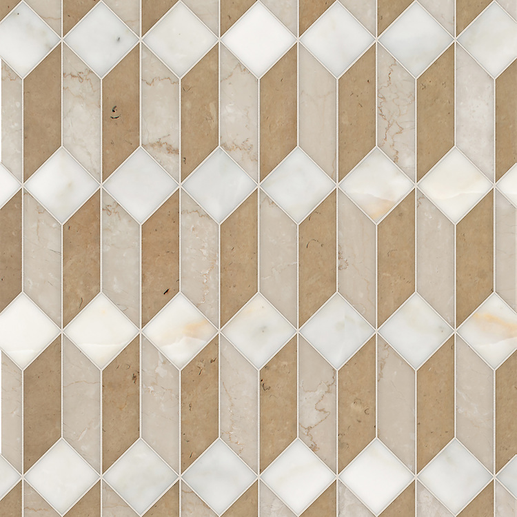 Madison, a hand-cut stone mosaic, shown in polished Calacatta Gold, Botticino, and honed Lagos Gold, is part of the Semplice® collection for New Ravenna.
