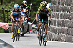Esteban Chaves (COL) Mitchelton-Scott attacks from the breakaway on the final climb of Stage 19 of the 2019 Giro d'Italia, running 151km from Treviso to San Martino di Castrozza, Italy. 31st May 2019<br /> Picture: Fabio Ferrari/LaPresse | Cyclefile<br /> <br /> All photos usage must carry mandatory copyright credit (© Cyclefile | Fabio Ferrari/LaPresse)
