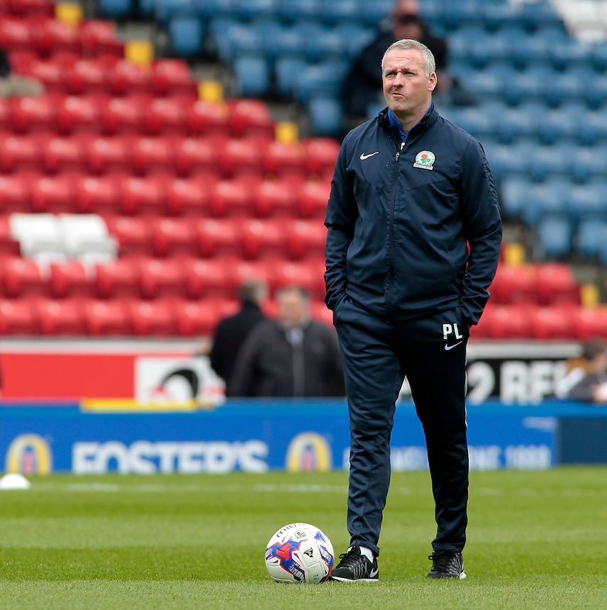 Blackburn Rovers manager Paul Lambert watches on as his side warm up before the game<br /> <br /> Photographer David Shipman/CameraSport<br /> <br /> Football - The Football League Sky Bet Championship - Blackburn Rovers v Bristol City - Saturday 23rd April 2016 - Ewood Park - Blackburn <br /> <br /> &copy; CameraSport - 43 Linden Ave. Countesthorpe. Leicester. England. LE8 5PG - Tel: +44 (0) 116 277 4147 - admin@camerasport.com - www.camerasport.com