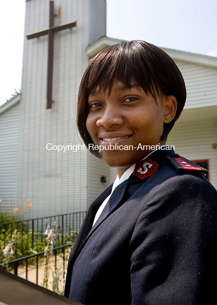 TORRINGTON CT. 24 July 2014-072514SV10-Capt. Rene Jarvis-Hovatter is the new leader for the Northwest Hills Salvation Army in Torrington. She is a pastor and in charge of the Salvation Army's social services. This is Jarvis-Hovatter outside the Salvation Army in Torrington Friday.<br /> Steven Valenti Republican-American