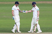 Matt Coles (left) and Simon Harmer (right) of Essex touch gloves between overs during Nottinghamshire CCC vs Essex CCC, Specsavers County Championship Division 1 Cricket at Trent Bridge on 11th September 2018