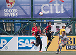 Wellington Phoenix (in grey) vs Kashima Antlers (in red) during their Main Tournament match, part of the HKFC Citi Soccer Sevens 2017 on 27 May 2017 at the Hong Kong Football Club, Hong Kong, China. Photo by Chris Wong / Power Sport Images