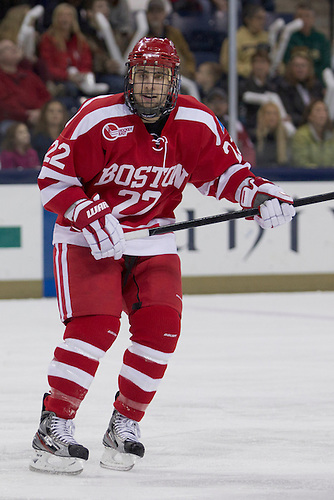 Boston University forward Ross Gaudet (#22) in first period action of NCAA hockey game between Notre Dame and Boston University.  The Notre Dame Fighting Irish defeated the Boston University Terriers 5-2 in game at the Compton Family Ice Arena in South Bend, Indiana.
