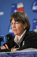 SAN ANTONIO, TX - APRIL 3: Head coach Tara VanDerveer during a Final Four press conference at the Alamo Dome on April 3, 2010 in San Antonio, Texas.