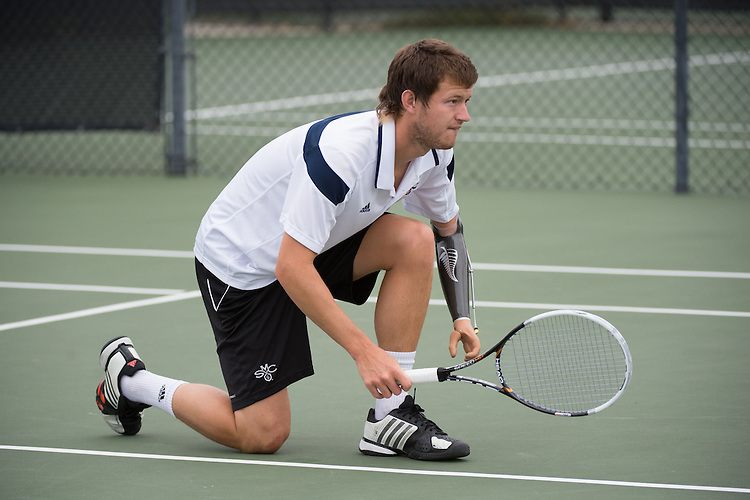 April 22, 2015; San Diego, CA, USA; Saint Mary's Gaels tennis player Thomas Alexander Hunt during the WCC Tennis Championships at Barnes Tennis Center.