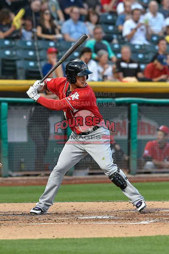 Brandon Barnes (4) of the Albuquerque Isotopes at bat against the Salt Lake Bees in Pacific Coast League action at Smith's Ballpark on August 30, 2016 in Salt Lake City, Utah. The Bees defeated the Isotopes 3-2. (Stephen Smith/Four Seam Images)