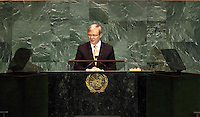 Australian Prime Minister Kevin Rudd makes his speech to the 2009 sitting of the UN general Assembly. picture by Trevor Collens .  Fee Applies.