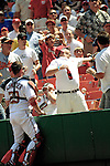 7 June 2007: Washington Nationals catcher Brian Schneider watches as a fan misses catching a fly ball during a game against the Pittsburgh Pirates at RFK Stadium in Washington, DC. The Pirates defeated the Nationals 3-2 in the third game of their 3-game series...Mandatory Credit: Ed Wolfstein Photo