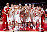 Wisconsin Badgers pose for a photo after a Big Ten Conference NCAA college basketball game against the Illinois Fighting Illini on Sunday, March 4, 2012 in Madison, Wisconsin. The Badgers won 70-56. (Photo by David Stluka)