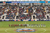 Maryland Terrapins and Notre Dame Fighting Irish line up prior to playing the game. The Notre Dame Fighting Irish defeated the Maryland Terrapins 2-1 during the championship match of the division 1 2013 NCAA  Men's Soccer College Cup at PPL Park in Chester, PA, on December 15, 2013.