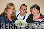 Chef Mark Doe, from Just Cooking, Firies offers Ciara Clarke Killarney and Kathleen Mccarthy Faha some treats at the Heartbeat, healthy Christmas cooking display in Killarney on Monday night