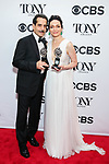 NEW YORK, NY - JUNE 10:  Tony Shaloub and Katrina Lenk pose in the 72nd Annual Tony Awards Press Room at 3 West Club on June 10, 2018 in New York City.  (Photo by Walter McBride/WireImage)