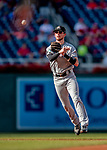 26 September 2018: Miami Marlins shortstop JT Riddle gets the third out in the first inning against the Washington Nationals at Nationals Park in Washington, DC. The Nationals defeated the visiting Marlins 9-3, closing out Washington's 2018 home season. Mandatory Credit: Ed Wolfstein Photo *** RAW (NEF) Image File Available ***