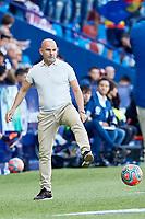 27th October 2019; Estadi Cuitat de Valencia, Valencia, Spain; La Liga Football, Levante versus Espanyol; Levante Manager Paco Lopez passes and returns the ball to the pitch - Editorial Use