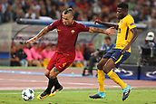 12th September 2017, Stadio Olimpic, Rome, Italy; UEFA Champions League between AS Roma versus Club Atletico de Madrid  Radja Naingglan holds off the Atletico defender ; the game ended on a 0-0 draw