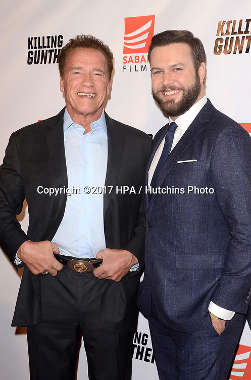 """LOS ANGELES - OCT 14:  Armold Schwarzenegger, Taran Killam at the """"Killing Gunther"""" Los Angeles Special Screening at the TCL Chinese 6 Theaters on October 14, 2017 in Los Angeles, CA"""