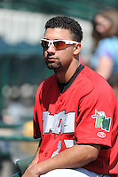 Fort Wayne TinCaps catcher Miguel Del Castillo (27) before a game against the Great Lakes Loons on August 18, 2013 at Dow Diamond in Midland, Michigan.  Fort Wayne defeated Great Lakes 4-3.  (Mike Janes/Four Seam Images)