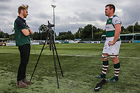 Media interviews after the Friendly match between Ealing Trailfinders and Dragons  at Castle Bar , West Ealing , England  on 11 August 2018. Photo by David Horn / PRiME Media Images.