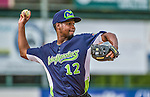 16 June 2014: Vermont Lake Monsters infielder Chris Wolfe warms up prior to a game against the Connecticut Tigers at Centennial Field in Burlington, Vermont. The Lake Monsters fell to the Tigers 3-2 in NY Penn League action. Mandatory Credit: Ed Wolfstein Photo *** RAW Image File Available ****