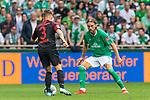 01.09.2019, wohninvest WESERSTADION, Bremen, GER, 1.FBL, Werder Bremen vs FC Augsburg<br /> <br /> DFL REGULATIONS PROHIBIT ANY USE OF PHOTOGRAPHS AS IMAGE SEQUENCES AND/OR QUASI-VIDEO.<br /> <br /> im Bild / picture shows<br /> Mads Pedersen (FC Augsburg #03) im Duell / im Zweikampf mit Michael Lang (Neuzugang Werder Bremen #04), <br /> <br /> Foto © nordphoto / Ewert