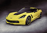 Yellow 2016 Chevrolet Corvette Z06 coupe luxury sports car super car on gray concrete background with clipping path