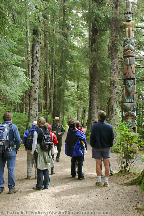 Park service employee guides tour at the Sitka National Historic Park. Site of a Tlingit Indian Fort and the battle fought between the Russians and the Tlingits in 1804.