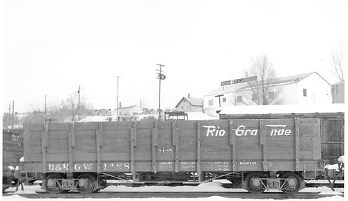 Side view of D&amp;RGW high-side gondola #1488 at Durango.<br /> D&amp;RGW  Durango, CO  Taken by Payne, Andy M. - 12/25/1970
