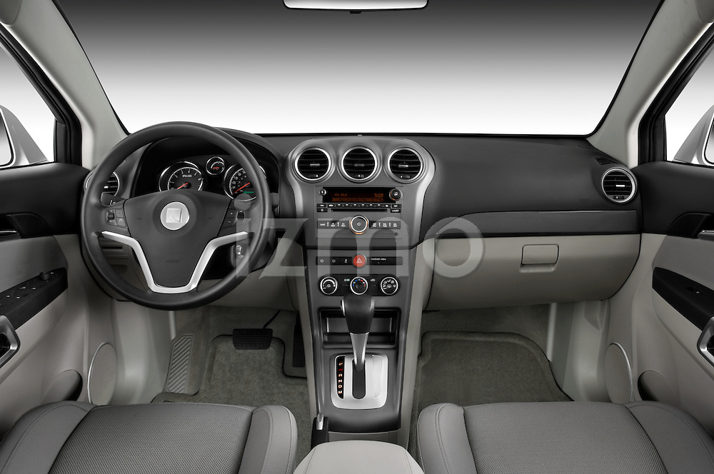 Straight dashboard view of a 2008 Saturn Vue Greenline.