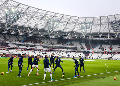 February 11th 2017, London Stadium, London, England, Premier League football, West Ham versus West Bromwich Albion; West Brom warm up before the match