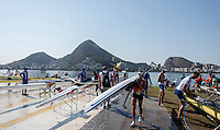 Rio de Janeiro. BRAZIL.  Busy Boating Area, 2016 Olympic Rowing Regatta. Lagoa Stadium,<br /> Copacabana,  &ldquo;Olympic Summer Games&rdquo;<br /> Rodrigo de Freitas Lagoon, Lagoa. Local Time 15:08:23   Friday  05/08/2016 <br /> <br /> [Mandatory Credit; Peter SPURRIER/Intersport Images]