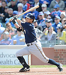 Norichika Aoki (Brewers),.APRIL 8, 2013 - MLB :.Norichika Aoki of the Milwaukee Brewers bats during the baseball game against the Chicago Cubs at Wrigley Field in Chicago, Illinois, United States. (Photo by AFLO)