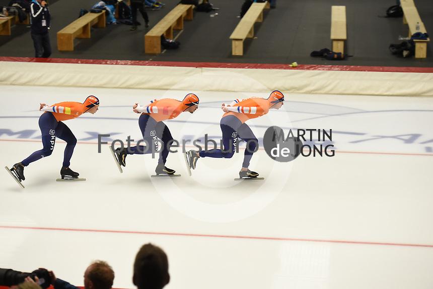 SPEEDSKATING: INZELL: Max Aicher Arena, 08-02-2019, ISU World Single Distances Speed Skating Championships, Team Pursuit Men, Marcel Bosker, Douwe de Vries, Sven Kramer, The Netherlands, ©photo Martin de Jong