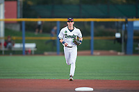 Hillsboro Hops left fielder Kevin Watson Jr (27) jogs off the field between innings of a Northwest League game against the Salem-Keizer Volcanoes at Ron Tonkin Field on September 1, 2018 in Hillsboro, Oregon. The Salem-Keizer Volcanoes defeated the Hillsboro Hops by a score of 3-1. (Zachary Lucy/Four Seam Images)