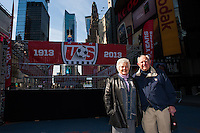 Former men's national team player Walter Bahr and his wife Davies pose for a photo during the centennial celebration of U. S. Soccer at Times Square in New York, NY, on April 04, 2013.